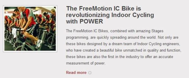 FreeMotion Indoor cycling bikes in health clubs